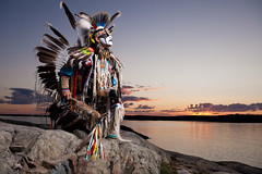 Warrior Dawn (davebrosha) Tags: boy summer lake water sunrise photoshoot dancing native creative dancer danny aboriginal northwestterritories stephens backbay yellowknife greatslavelake powwow micmac modelreleased davebroshaphotography micmaq warriormicmaq