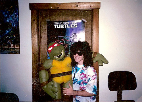 Ryan Brown again  & Muppet puppeteer Tony Basilicato 's TMNT puppet in old NoHo Mirage office (( 1987 ))