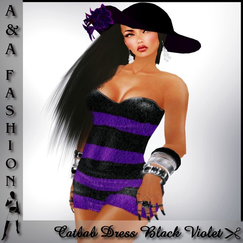 A&A Fashion Catbab Dress Black Violet