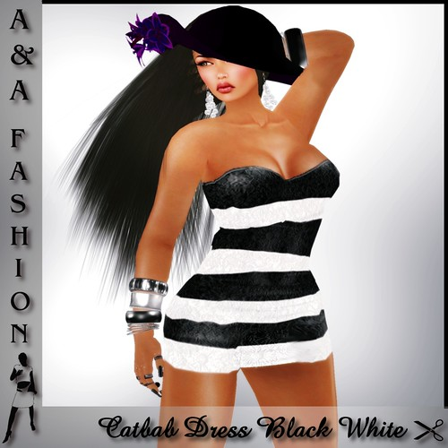 A&A Fashion Catbab Dress Black White