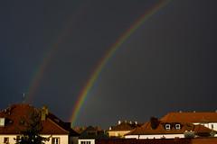 rainbows (Axel Ku.) Tags: colors germany bayern deutschland bavaria rainbow raw sommer roofs thunderstorm franken gewitter würzburg regenbogen farben dächer frankonia sommergewitter sunandrain canoneos50d sigma28200mmf3556dgmacro