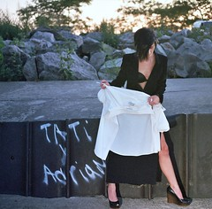 Ekate Shirt and Cigerette 2 (neohypofilms) Tags: color slr love film girl fashion shirt 35mm landscape 50mm model nikon raw industrial grafitti exterior legs masculine euro steel style 200asa gritty location romance negative heels russian tragic platforms wedges feamle
