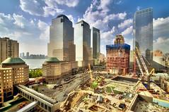 Ground Zero (mudpig) Tags: nyc newyorkcity cloud ny newyork building skyline geotagged newjersey construction jerseycity downtown cityscape crane worldtradecenter 4 nj 7 hudsonriver wtc gothamist westsidehighway discovery goldman groundzero hdr 18thcentury weststreet sachs 7worldtradecenter freedomtower mudpig