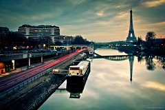 Morning reflections in Paris (Marc Benslahdine) Tags: bridge paris france cars love architecture canon reflections eos lights cityscape nightlights lumire explorer eiffeltower trails gasstation explore marc pont lovely pniche amateur frontpage nuit reflets 75015 franais voitures feux lightroom fil 15me toureifel laseine quaideseine longexp longexposition expositionlongue poselongue 50d explored stationessence tamronspaf1750mmf28xrdiii canoneos50d baladeparisienne marcopix immeube benslahdine tripax marcbenslahdine baladesparisiennes feuxderoute carstrails wwwmarcopixcom wwwfacebookcommarcopix gettyimagesfranceq1 marcopixcom