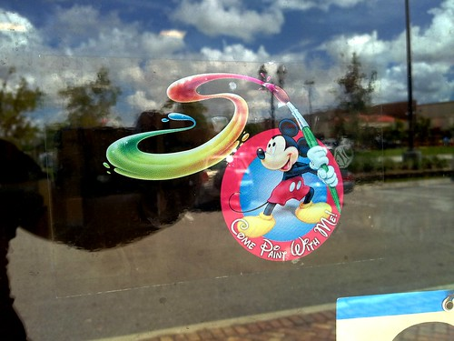 mickey on a window