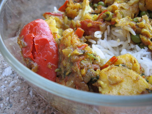 curried potatoes and peppers