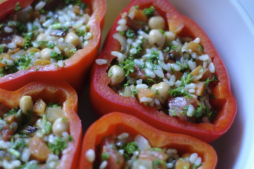 Veg and Rice Stuffed Red Peppers