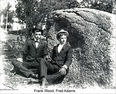 Frank Wood and Fred Adams of Dublin New Hampshire (Keene and Cheshire County (NH) Historical Photos) Tags: people men boulder dublinnh dublinnewhampshire frankwood fredadams maryerobbe