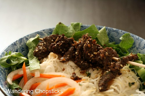 Bun Thit Nai Nuong Xa (Vietnamese Noodles with Grilled Lemongrass Venison) 3