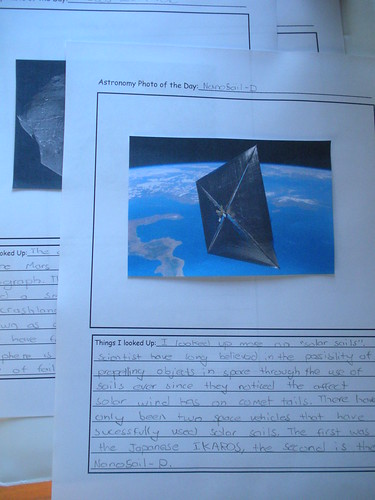 Astronomy Photo of the Day notebook page