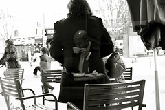 The morning of a gentleman (Che-burashka) Tags: street people blackandwhite bw reflection london shiny head places bn frame bexley behindtheglass spn spnp canonef28mmf18usm streetphotographynowproject