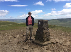 26 of 52 trig points (Ron Layters) Tags: 2017 ronlayters selfportrait 52trigpoints penyghent trigpoint windy summit yorkshiredalesnationalpark halfway founatinsfell sunshine clouds vista pillar tp5414 fbs5776 yorkshiredales hortoninribblesdale yorkshire england unitedkingdom 52weeks 52 phonecamera iphone apple appleiphone6 selftimer tripod 10secondtimer weektwentysix week26 26
