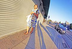 Los Angeles (kirstiecat) Tags: shadows people strangers woman losangeles la america us unitedstates street canon warmth dreamy dream fisheyelens fisheye california