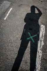 X marks the spot (jrockar) Tags: streetportrait streetphotography moment instant london self selfie portrait abstract impression shadow jrockar janrockar idiot westfromeast ordinarymadness ordinary madness funny myself me x100f fujix holyf witty contrast xmarksthespot x mark