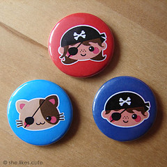Shop update: Pirate Party button set (she.likes.cute) Tags: blue boy red cute girl cat handmade buttons happiness pins pirate kawaii button badges shelikescute