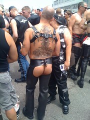 Typical look: Tats, harness, and chaps.
