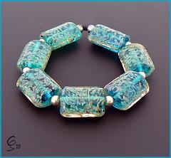 Cooling Oasis - Lampwork Glass Bead Set (Photography by Clare Scott) Tags: uk glass scott beads clare lampwork sra beadsbyclarescott
