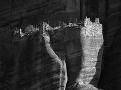 Dark & light (Paterdimakis) Tags: light bw white black nature rock dark landscape nikon ruins towers greece negre meteora d300 ελλάδα τοπίο μαύρο μετέωρα ελλάσ αμ άσπρο