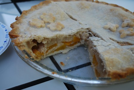 Peach Cream Pie in a BBQ setting