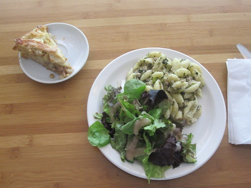 pasta with rapini ans sausage meat, salad, apple pie from the bistro - $6