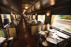 Restaurant Car of Indian Luxury Train (Train Chartering & Private Rail Cars) Tags: indiantrain privatetrain privaterailcar chartertrain traincharter trainchartering privatecarriage luxurytravel luxurytrain luxurytrainclub indianluxurytrain maharajasexpress