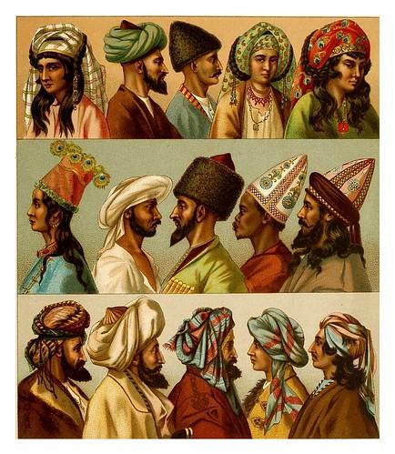 021-Turbantes y tocados-Persas-Afganos-Turcomanos-Indios –Kurdos y arabes-A.Racinet 1888