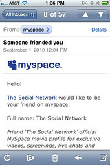 """The Social Network would like to be your friend on myspace."""