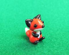 Tiny Fox (DragonsAndBeasties) Tags: sculpture cute statue forest woodland foxy keychain small chibi charm polymerclay fimo gift tiny fox kawaii sculpey etsy custom figurine phonecharm premo zipperpull ittybitty pocketpet