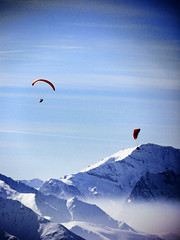 Lost in the Joy of the Mountains (Powder Hunter) Tags: ski mountains alps switzerland paragliding soaring paragliders verbier swissalps