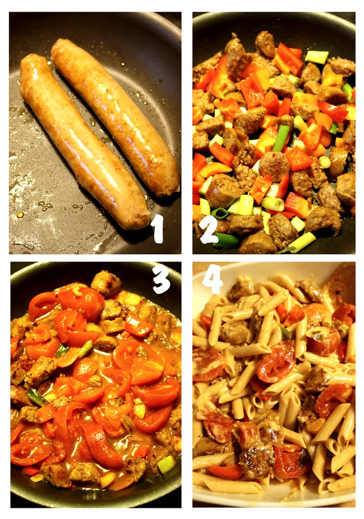 italian sausage w/peppers over pasta