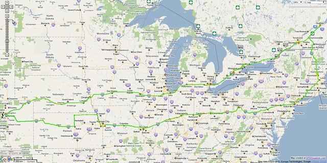 Map of my motorcycle road trip