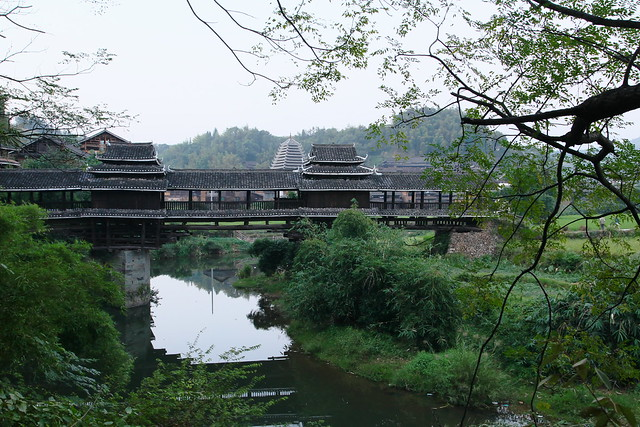 Wind and rain bridge in Chengyang, Guangxi, China