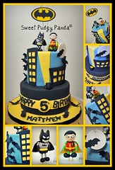 Batman Cake Collage (Sweet Pudgy Panda) Tags: birthday moon black robin yellow cake chocolate bat superhero batman dccomics bats picnik fondant gothamcity gumpaste