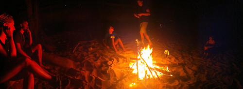Campfire at the pipeline