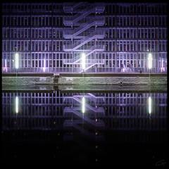 The dualism of Stairs in Pale Purple (grrrrrrrrrrrrrrrrrrrrrrrrrrreg) Tags: france building green water metal stairs river frankreich wasser purple lila treppe grn fluss metall gebude purpur stassbourg