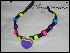 Purple Heart Bracelet (Always Somethin' Hemp Creations) Tags: pink hearts diy purple jewelry rave hippie etsy raver macrame hemp
