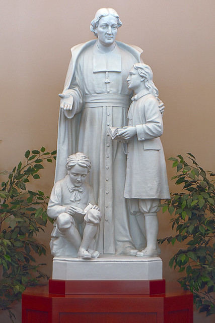 Christian Brothers College High School, in Town and Country, Missouri, USA - Statue of Saint Jean-Baptiste de La Salle in library