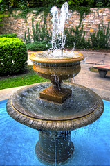 fountain (davedehetre) Tags: blue summer sun sunlight water fountain pool stone wall canon bench lens ripple ivy vine l verdant 20mm splash hdr greed dapple photomatix 2035 t1i