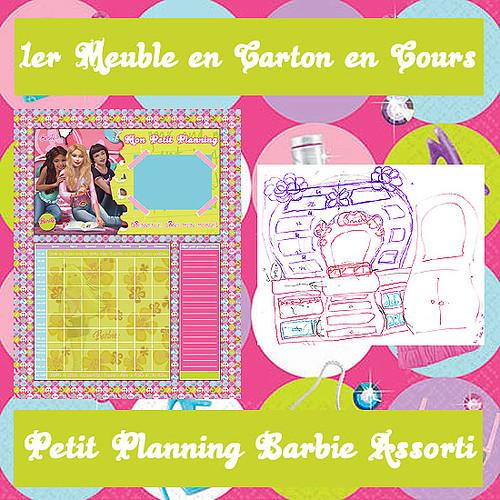 """Petit planning et 1er Meuble en Carton """"Barbie"""" bricolés maison"""