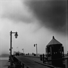 pier_hass (Tosh Clements) Tags: bw film lines fog architecture clouds dark pier wharf powerline heavy leading santabarbarapier stearns powergrid 80mm hasselblad500cm