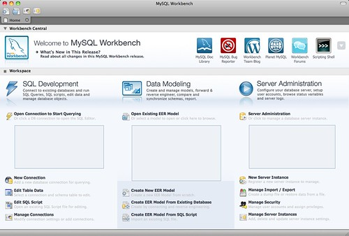 MySQL Workbench Home Page