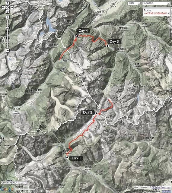 Tour du Mont Blanc (TMB) 里程图(2010年8月28-31日) / TMB route