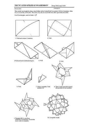 Folding Diagrams Of Truncated Spiked Icosahedron