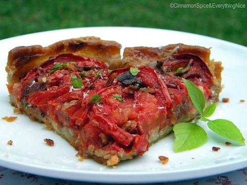 Tomato Tart with Parmesan and Bacon