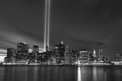 Tribute in Light HDR Black and White (Shane Woodall) Tags: newyork brooklyn lights memorial worldtradecenter 911 september wtc hdr towersoflight tributeinlight 2010 brooklynbridgepark canon5dmarkii septenber11th