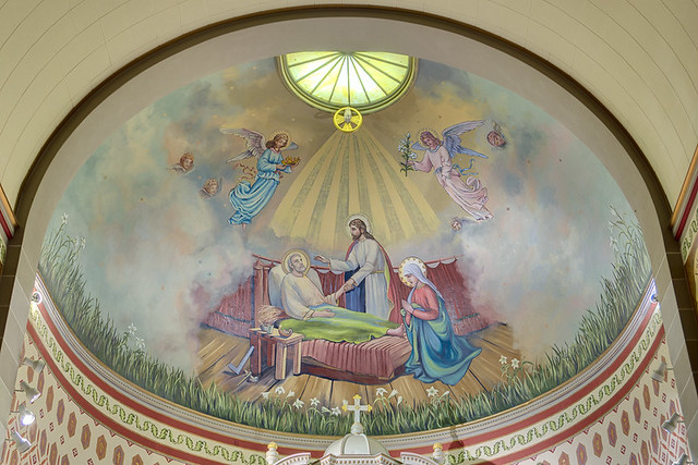 Saint Joseph Roman Catholic Church, in Josephville, Missouri, USA - painting in apse, Holy Death of Saint Joseph