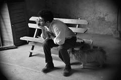 """mis au """"banc"""" (lachaisetriste) Tags: portrait blackandwhite bw chien nikon noiretblanc nb cairnterrier homme d700 spiritofphotography 4tografie"""