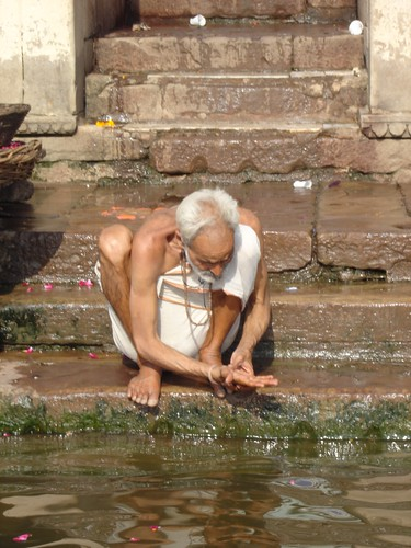Old man on the ghats of varanasi