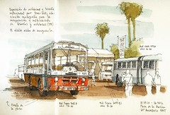 60th anniversary of EMT, buses (Luis_Ruiz) Tags: bus sketch spain drawing andalucia andalusia dibujo malaga emt mlaga urbansketchers tranbus
