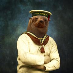 The bad boy - le mauvais garon (Martine Roch) Tags: ocean portrait man vintage army ship surreal seal surrealist sailor sealion manray petitechose martineroch flypapertextures